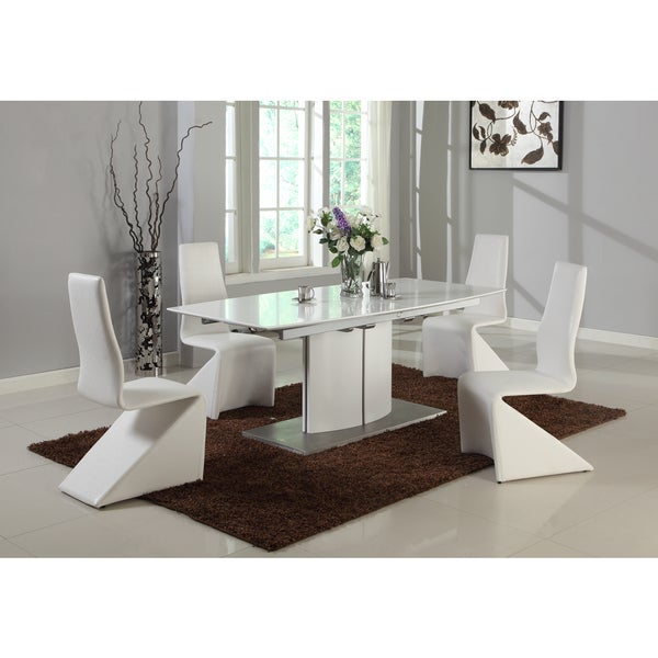 Somette Elektra Matte White Self Storing Pedestal Table