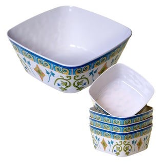 Certified International Tuscany Painted 5-piece Salad Serving Bowl Set
