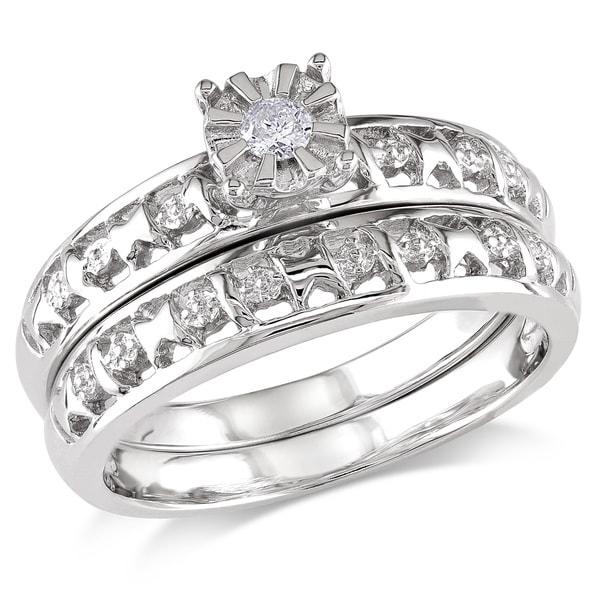 Miadora Sterling Silver Diamond Accent Bridal Ring Set