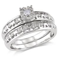 Miadora Sterling Silver Diamond Accent Bridal Ring Set