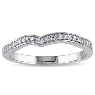 Miadora 10k White Gold 1/6ct TDW Diamond Contour Anniversary-style Stackable Wedding Band