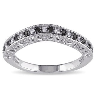 Miadora Sterling Silver 1/4ct TDW Black and White Diamond Curved Stackable Anniversary Style Wedding