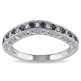 Miadora Sterling Silver 1/4ct TDW Black and White Diamond Curved Stackable Anniversary Style Wedding Band Ring (G-H, I2-I3)
