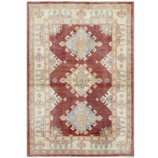 Herat Oriental Afghan Hand-knotted Tribal Kazak Burgundy/ Beige Wool Rug (4' x 5'10)