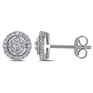Miadora 10k White Gold 1/3ct TDW Diamond Earrings