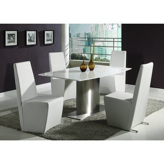 Christopher Knight Home Cressida Surf Marble Chrome Dining Set with White Chairs (Set of 5)