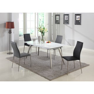 Christopher Knight Home Elysia Matte White Dining Set with Grey Chairs (Set of 5)