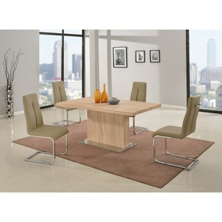 Christopher Knight Home Jackie Light Oak Dining Set with Gloss White Butterfly Extension