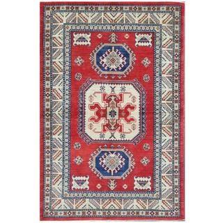 Herat Oriental Afghan Hand-knotted Tribal Kazak Red/ Ivory Wool Rug (4' x 6'1)