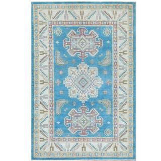 Herat Oriental Afghan Hand-knotted Tribal Kazak Light Blue/ Ivory Wool Rug (4' x 6')