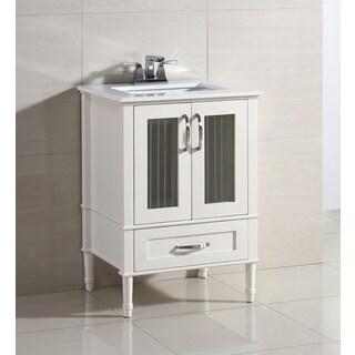 WYNDENHALL Holly White 24-inch Bath Vanity Set with Two Doors and White Quartz Marble Top