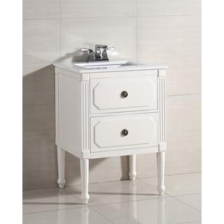 WYNDENHALL Dubois 2-drawer 24-inch Bath Vanity with White Quartz Marble Top
