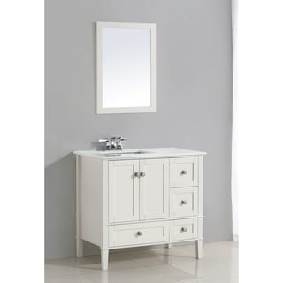 WYNDENHALL Windham White 2-door 36-inch Left Offset Bath Vanity Set with White Quartz Marble Top