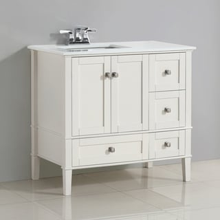 WYNDENHALL Windham 36 inch Contemporary Bath Vanity with White Engineered Quartz Marble Top