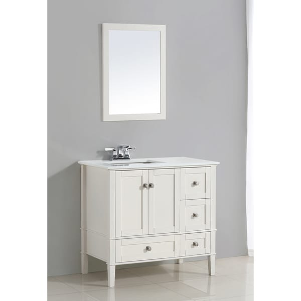 Shop Wyndenhall Windham White 2 Door 36 Inch Left Offset Bath Vanity