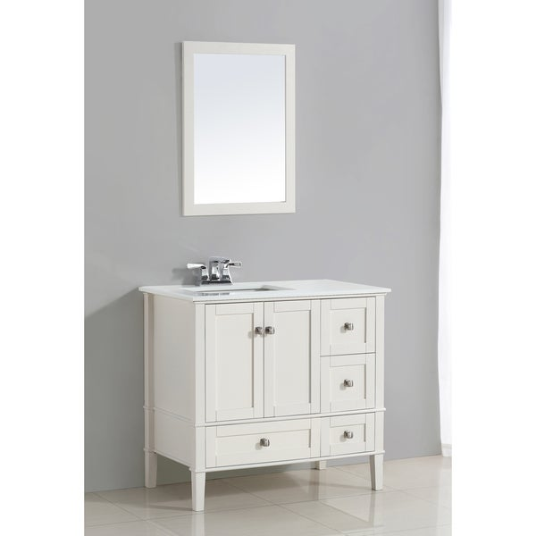 WYNDENHALL Windham White 2 door 36 inch Left Offset Bath Vanity