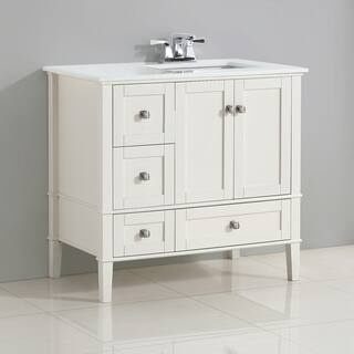 36 inch bathroom vanity with top. WYNDENHALL Windham White 36 inch Right Offset Bath Vanity Set with Two  Doors and Bathroom Vanities For Less Overstock com