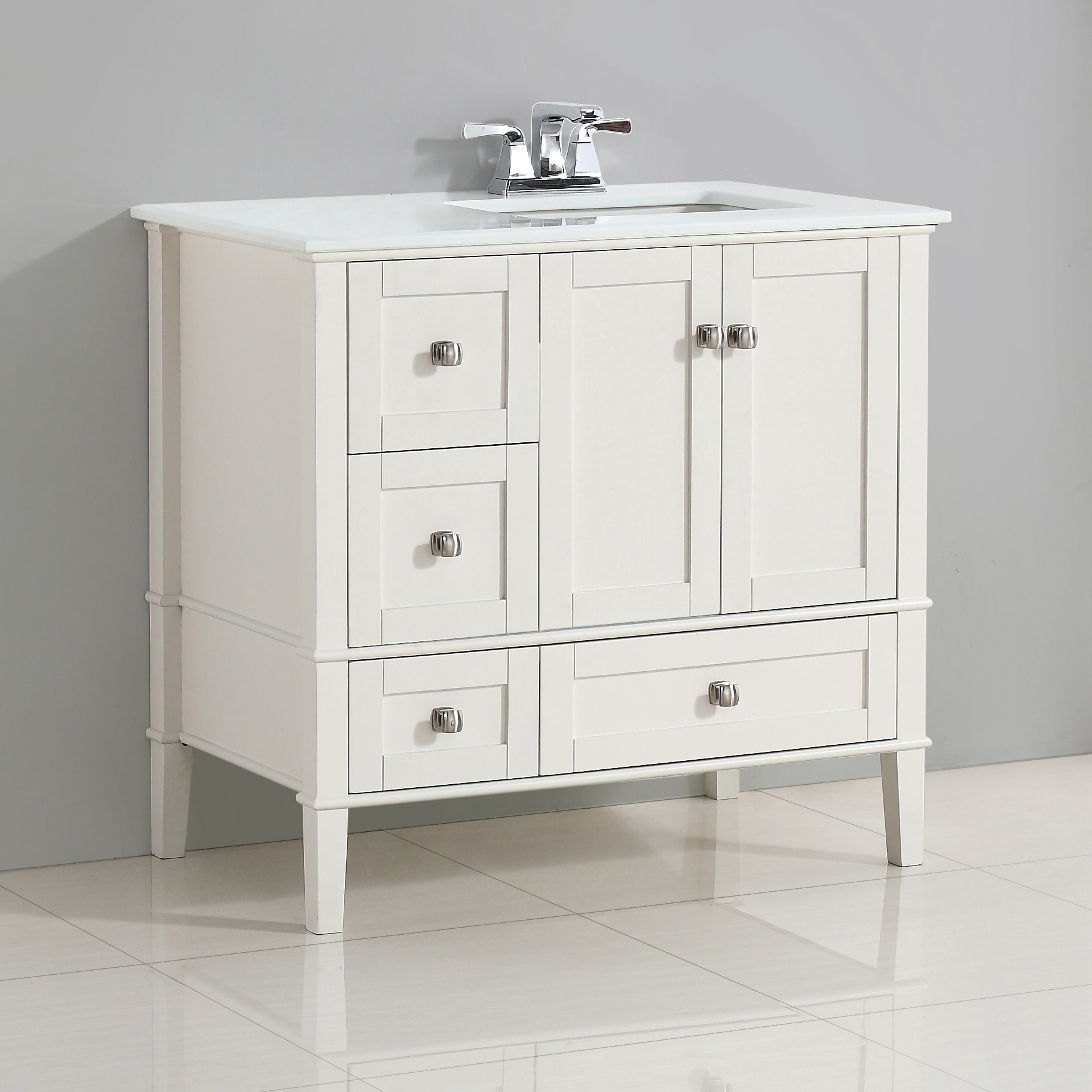 Wyndenhall Windham 36 Inch Contemporary Bath Vanity In Soft White With Engineered Quartz Marble Top