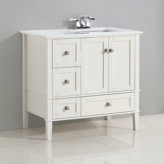 WYNDENHALL Windham 36 inch Contemporary Bath Vanity with White Engineered Quartz Marble Top