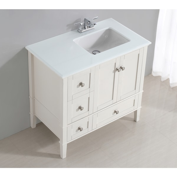 WYNDENHALL Windham White 36 Inch Right Offset Bath Vanity Set With Two  Doors And White Quartz Marble Top   Free Shipping Today   Overstock.com    17112804