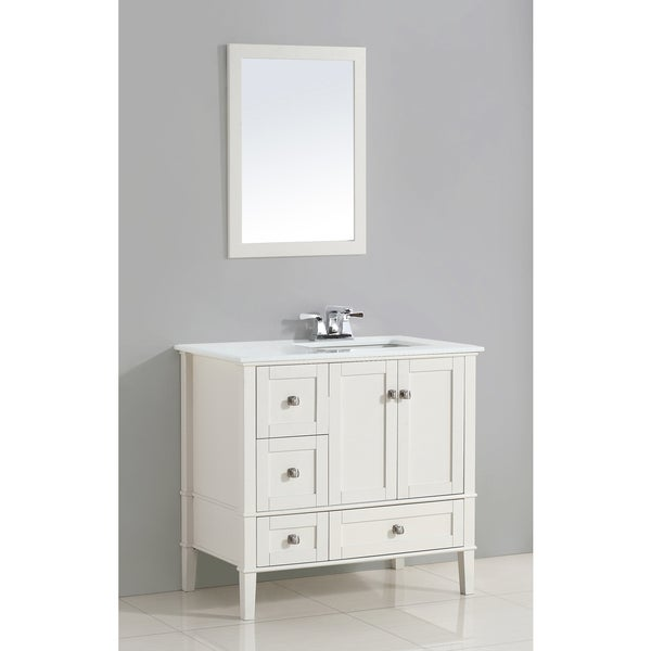 WYNDENHALL Windham White 36-inch Right Offset Bath Vanity Set with Two Doors and White Quartz Marble Top