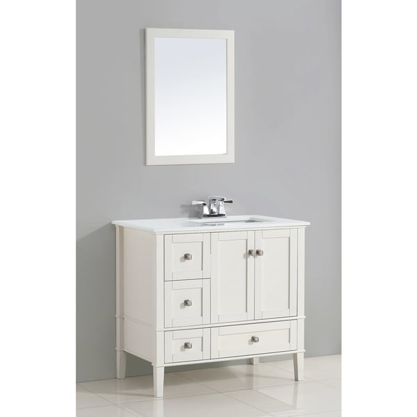 Wyndenhall Windham White 36 Inch Right Offset Bath Vanity Set With Two Doors And