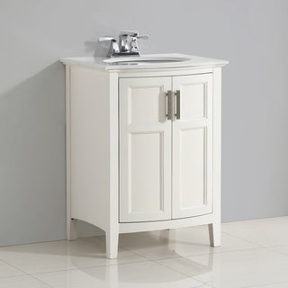 Salem 24 inch Rounded Front Bath Vanity in Soft White with Bombay White Engineered Quartz Marble Top