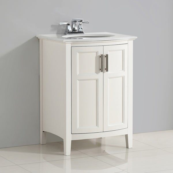 WYNDENHALL Salem 24 inch Contemporary Bath Vanity in Soft White with Bombay White Engineered Quartz Marble Top