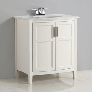 WYNDENHALL Salem White 2-door 30-inch Rounded Front Bath Vanity Set with White Quartz Marble Top