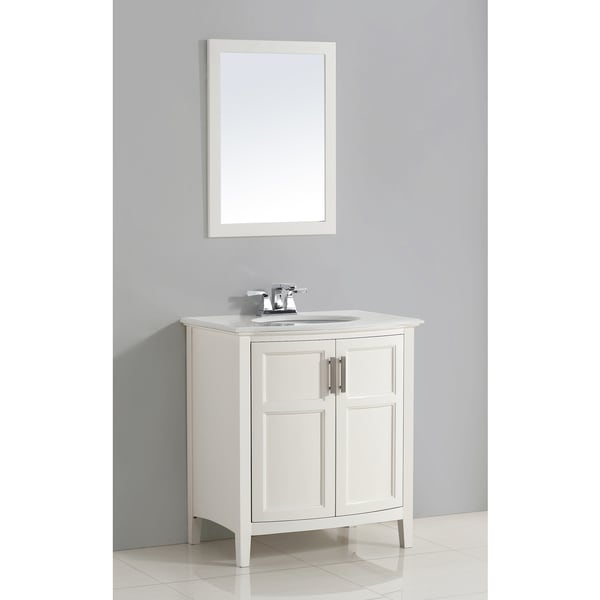 Shop Wyndenhall Salem White 30 Inch Rounded Front Bath Vanity With Top On Sale Free Shipping