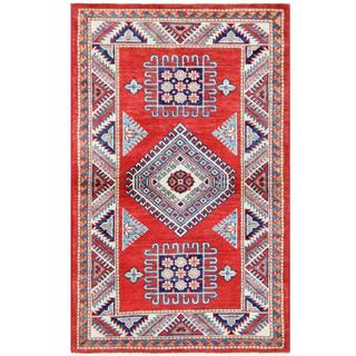 Herat Oriental Afghan Hand-knotted Tribal Super Kazak Wool Rug (2'11 x 4'7)
