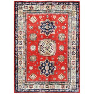 Herat Oriental Afghan Hand-knotted Tribal Kazak Red/ Ivory Wool Area Rug (5'6 x 7'8)