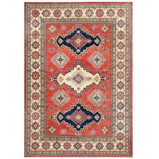 Herat Oriental Afghan Hand-knotted Tribal Kazak Red/ Ivory Wool Rug (6'8 x 9'7)