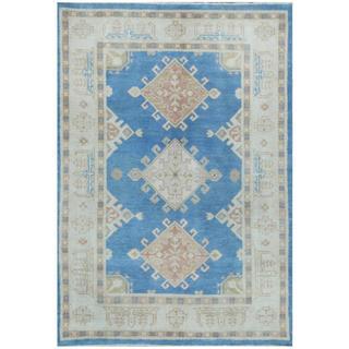 Herat Oriental Afghan Hand-knotted Tribal Kazak Blue/ Beige Wool Rug (4' x 5'10)