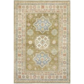 Herat Oriental Afghan Hand-knotted Tribal Kazak Olive/ Ivory Wool Rug (6'6 x 9'4)