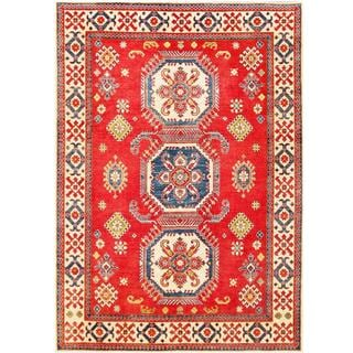 Herat Oriental Afghan Hand-knotted Tribal Kazak Red/ Ivory Wool Rug (7'2 x 10'1)