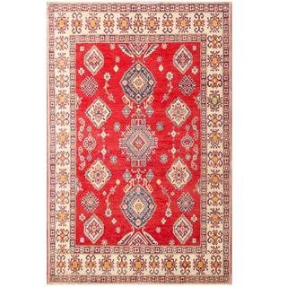 Herat Oriental Afghan Hand-knotted Tribal Kazak Red/ Ivory Wool Rug (7'2 X 11')