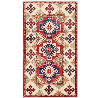 Herat Oriental Afghan Hand-knotted Tribal Kazak Red/ Ivory Wool Rug (2' x 3'5)
