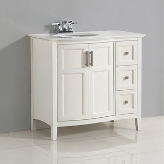 WYNDENHALL Salem White 36-inch Rounded Front Bath Vanity Set with Two Doors and White Quartz Marble Top