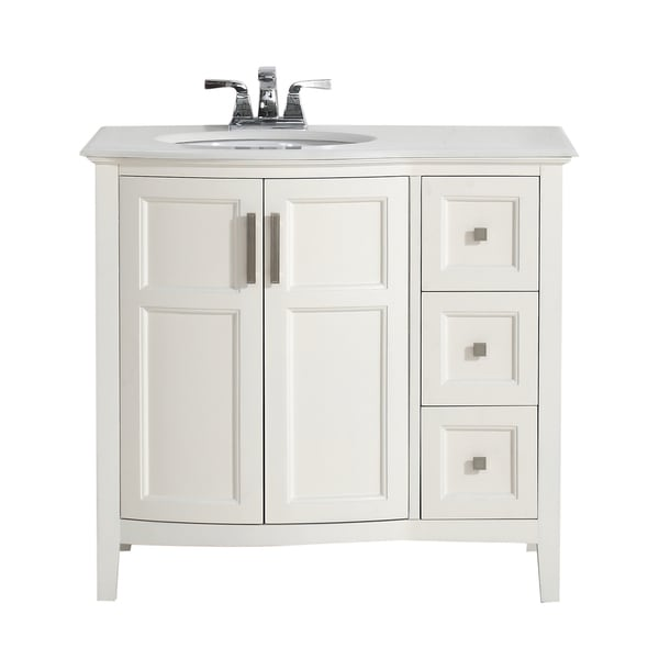 wyndenhall salem white 36inch rounded front bath vanity set with two doors and white quartz marble top free shipping today