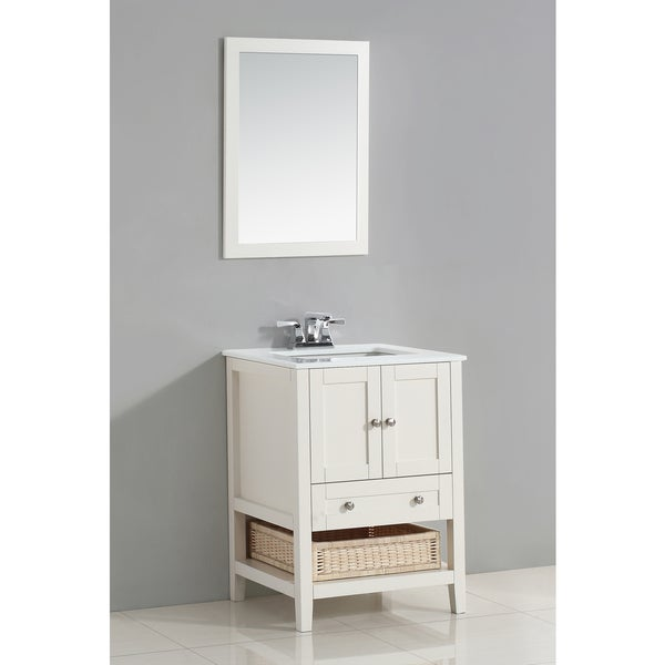 Wyndenhall Belmont 24 Inch White Bath Vanity With White Quartz Marble Top Free Shipping Today