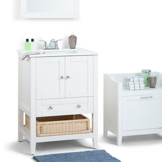 WYNDENHALL Belmont White 2-door 24-inch Bath Vanity Set with White Quartz Marble Top
