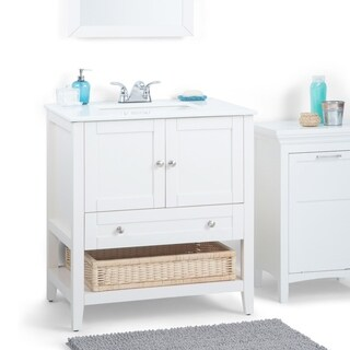 WYNDENHALL Belmont 30-inch White Bath Vanity with White Quartz Marble Top