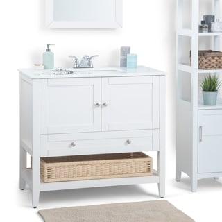 WYNDENHALL Belmont White 2-door 36-inch Bath Vanity Set with White Quartz Marble Top