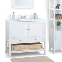 WYNDENHALL Belmont 36 inch Bath Vanity in Soft White with White Engineered Quartz Marble Top