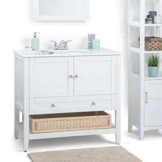 WYNDENHALL Belmont 36-inch White Bath Vanity with White Quartz Marble Top
