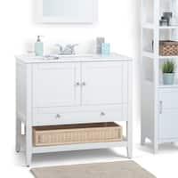 WYNDENHALL Belmont 36 inch Contemporary Bath Vanity in Soft White with White Engineered Quartz Marble Top