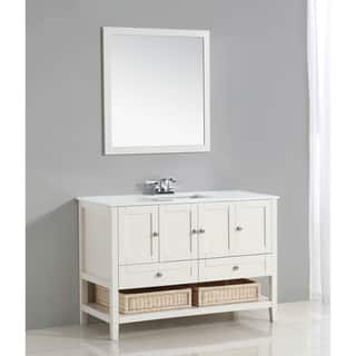 WYNDENHALL Belmont 48-inch White Bath Vanity with White Quartz Marble Top|https://ak1.ostkcdn.com/images/products/9960009/P17112812.jpg?impolicy=medium