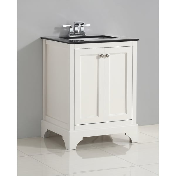 wyndenhall carlyle 24 inch white bath vanity with black granite top