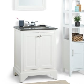 WYNDENHALL Carlyle 24-inch White Bath Vanity with Black Granite Top